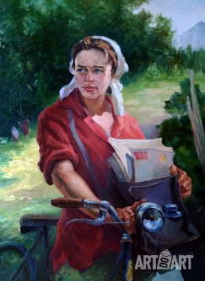 Painting, Socialist Realism -  «The rural postman»