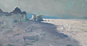 Painting, Landscape - Baikal, winter.
