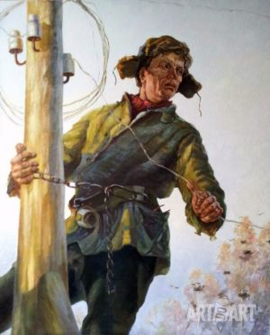 Painting, Socialist Realism -  «Village electrician»