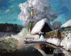 Painting, Landscape - Bathhouse. First snow