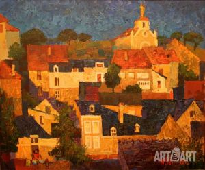 Painting, City landscape - Evening in Argentona