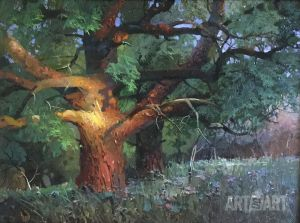 Painting, Landscape - A giant oak.