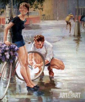 Painting, Socialist Realism -  A walk on the  bicycle