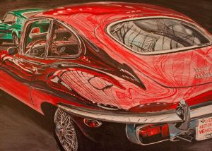 Painting, Realism - Jaguar-E-Type