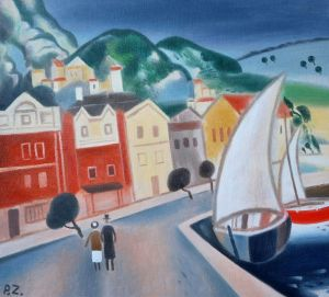 Painting, City landscape - Town by the sea