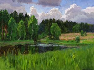 Painting, Landscape -  Forest lake