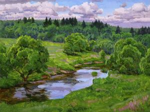 Painting, Landscape -  Protva River. Windy day.