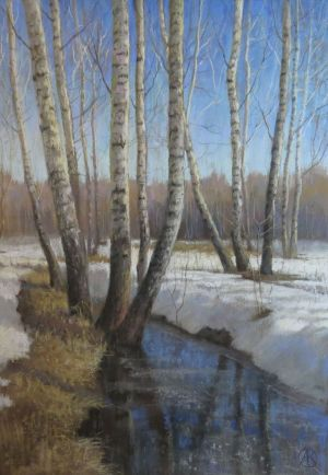 Graphics, Landscape -  April birches