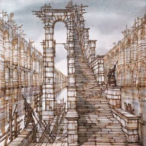 Graphics, City landscape - The Ladder on the water. From the cycle «Roman Imaginations» Drawing by Andrey Svistunov