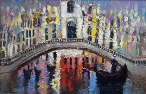 Painting, City landscape - «Venecian noon»