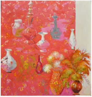 Painting, Impressionism - Still-life-on-a-red-background