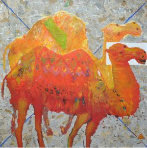 Painting, Animalistics - «About the camel», canvas, oil, newspapers 150х150 cm, 2016 year. Autor Namig Mamedov