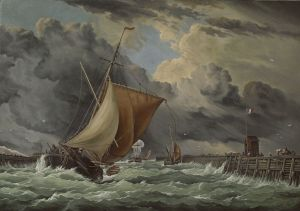 Painting, Seascape - Calais Harbour, view of the old pier and Fort Roger with the incoming sloop« 1875