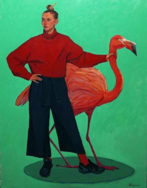 Painting, Realism - And-Flamingo