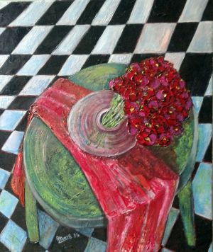 Painting, Modern - Red bouquet.