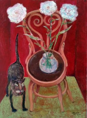 Painting, Still life - Cat-And-Flowers