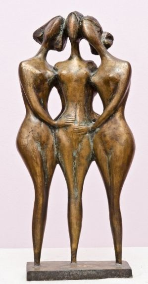 Sculpture, Impressionism - Three friends.
