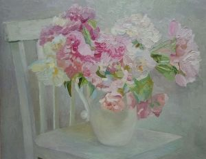 Painting, Still life -  Peonies on a chair.