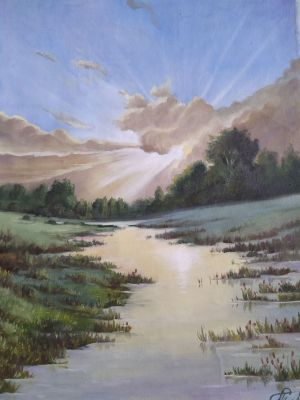 Painting, Landscape - Sunset on the swamp.