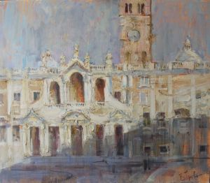 Painting, City landscape - Morning. Santa Maria Maggore