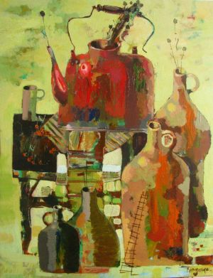 Painting, Symbolism - Still-life-with-a-teapot