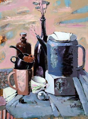 Painting, Acrylic - Still-life-with-the-blue-teapot