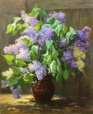 Painting, Realism - Fragrant bouquet of lilac