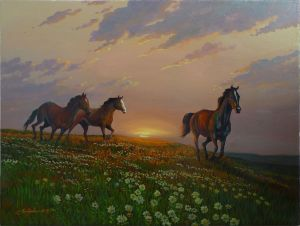 Painting, Landscape - Horses running to water