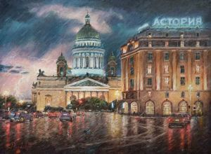 Painting, Impressionism - St. Petersburg thunderstorms