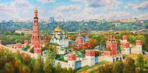 Painting, City landscape - The greatness of Novodevichy convent