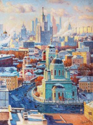 Painting, City landscape - Singing the beauty of the winter city