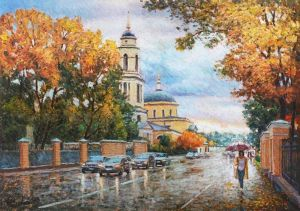 Painting, City landscape - Autumn invites you for a walk