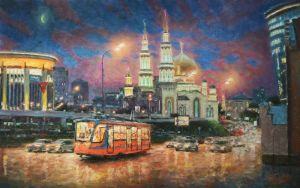 Painting, Impressionism - The evening lights of Moscow