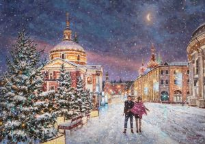 Painting, City landscape - Snow fairy tale in the city
