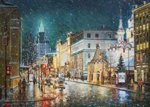 Painting, Impressionism - The first snow on Malaya Dmitrovka