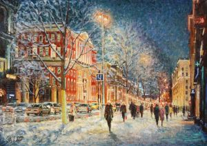 Painting, Impressionism - How the snow glistens in the glow of the lanterns...