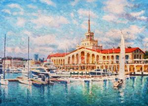 Painting, Impressionism - Sea port of Sochi