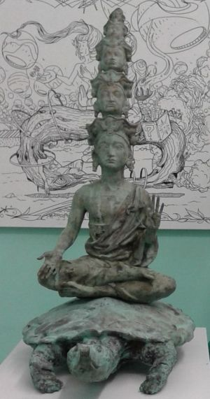 Sculpture, Easel - Buddha on a turtle