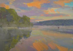 Painting, Realism - evening on the river