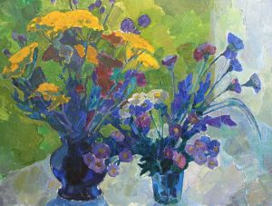 Painting, Still life - Summer bouquets