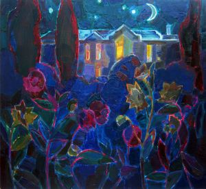 Painting, Landscape - Night in the garden