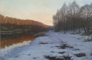 Painting, Realism - at sunset winter