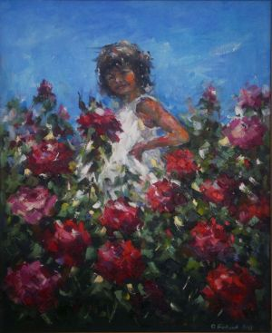 Painting, Realism - Nelly among the roses