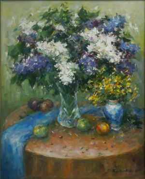 Painting, Still life - lilac on the round table