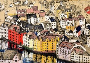 Graphics, City landscape - Alesund