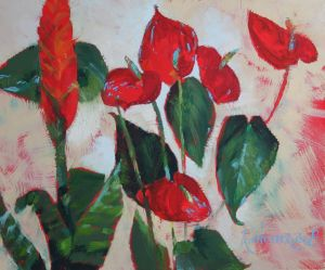 Painting, Still life - Red-green flowers