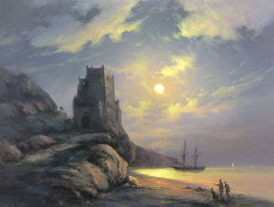 Painting, Realism - old tower