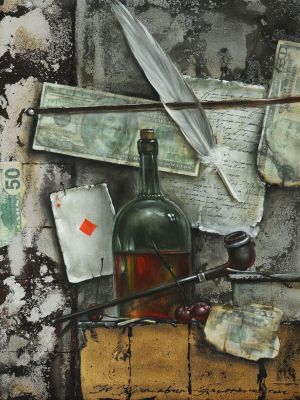 Painting, Realism - Still life with tube and bottle
