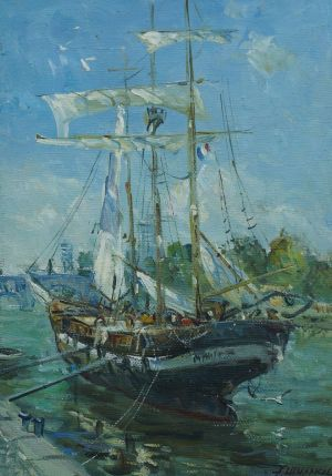 Painting, Seascape - On the river Seine