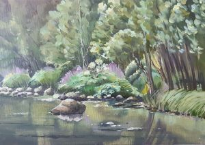 Painting, Realism - River Hype. Summer day.